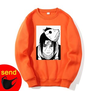 Orange Sweatshirts Naruto Harajuku Japanese Anime Uchiha Itachi Printed Men's Hoodies Male Streetwear Men Brand Hip Hop Coat X1022