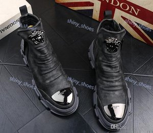 high quality Design Luxe British Men Trendy rock punk Hight top Casual Flats metal plate Shoes trend Martin boots Male Party Shoes UP