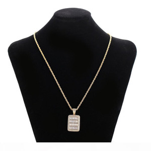 New Bling Cage Dog Tag Necklace & Pendant Men's Hip Hop Jewelry Free Steel Rope Chain Gold Color Full Cubic Zircon For Gift