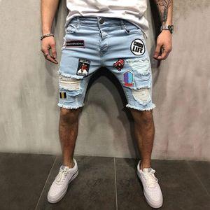 PADEGAO new men's summer short jeans denim shorts hole ripple design jeans creative Cloth sticker Embroidered hippie short