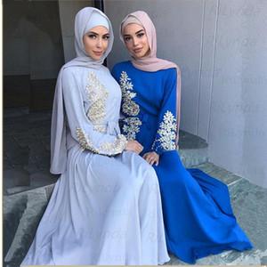Robe de fête Muslim strass Soirée High Col High Neck Dubai Longue Manches Robe Robe Femmes