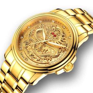non men's watch quartz Men's watch mechanical high grade stainless steel golden dragon watch0DIX