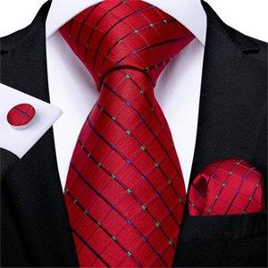 New Design Men Tie Red Dot Plaid Silk Wedding Tie For Men Hanky Cufflinks Gift Tie Set DiBanGu Fashion Business Party MJ-7348