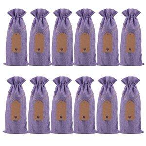 Champagne Weinflasche Cover Leinen-Beutel des Leinen Geschenk-Beutel Burlap Geschenk-Beutel Hochzeit Feste Partei-Dekoration Favor AHC2759