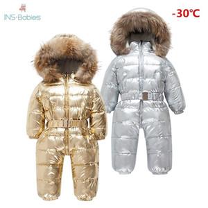 2020 Marca Orangemom Rusia invierno -30 grados hacia abajo Jacke niños grande piel del mapache de ropa Niño Niña Calentamiento rompevientos mamelucos 0930