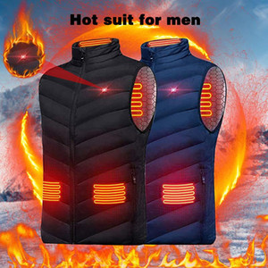 2020 Winter Mens USB Heating Electrical Vests Men Warm Sleeveless Heated Jacket Men Classic Heating Intelligent Vests Overcoats