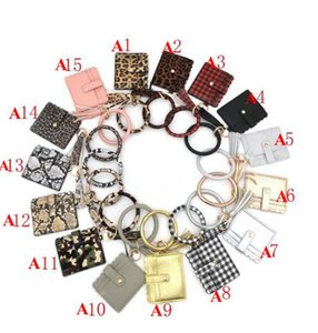 Bracelet Keychain Wallet Leopard Snake PU Leather Tassel Women Card Bag Women Clutch Wristlet Keyring OWA1689