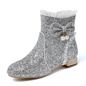 Bowknot BLING Short Boots Parent-Child Plus Cashmere Grete Pink Pearl Kids Shoes And Mother Shoes Warm Cashmere Ankle Boots