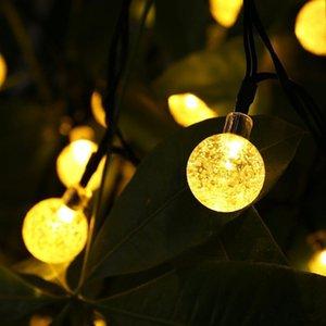 30 LED Crystal Ball Water Drop Solar Globe Fada 8 Efeito de Trabalho para jardim ao ar livre Natal Decoração do feriado Luzes GGB2387