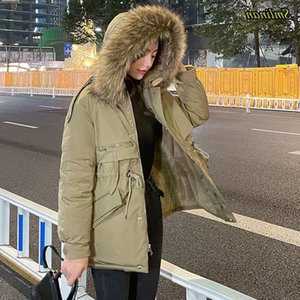 Smlinan 2020 New Hooded Fur Parka Women Clothes Thick Down Cotton Padded Short Jacket Woman Winter Bubble Coat Female