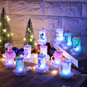 Natale LED Candela PVC Night Lights senza fiamma Candela portatile Tabella Decorazione Buon Natale candela decorazioni per il desktop w-00414