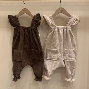 LZL Newest Korean Japan Australia INS Baby Girls Corduroy Overalls Fly Sleeveless Pockets Pants Children Girls Princess Newborn Trousers