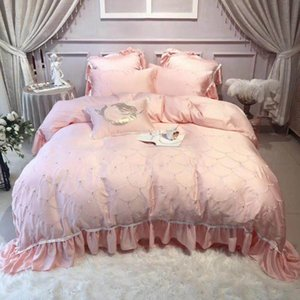 Fish scale Ruffle Strong Beads Princess style Pink Bedding set 4 7Pcs Queen King size Soft Tencel Duvet Cover Bed sheet Set