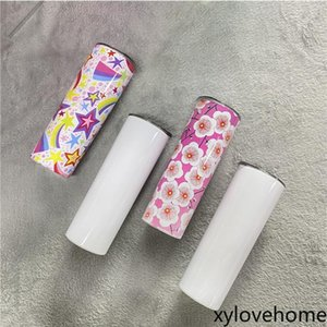 DIY Blank 20oz Sublimation Skinny Tumbler Double Wall Stainless Steel Vacuum Insulated Water Mugs Portable For Travel Straight Tapered Cup