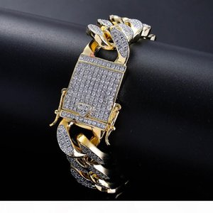 High Quality Environment Copper Micro-inserts White Diamond MIAMI CUBAN CHAIN Bracelets Mens Women HipHop Bling Iced Out Bling Jewelry 18MM