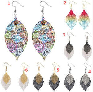 2020 Hot style leaf earrings golden simplicity double hollow leaf earrings retro 10pcs lot Epacket Delivery.