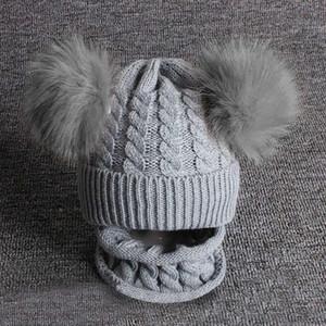 2pcs Kid Baby Knitting Wool Hemming Keep Warm Winter Hiarball Cap Hat +scarf Set Kids Hat Baby Newborn Photography Props