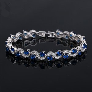 Luxury S Shape Link Chain CZ Zircon Bracelets For Women 3 Color Cubic Zirconia Crystal Fashion Party Jewelry Mother's Day Gift
