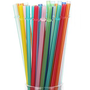 متعدد الألوان الصلبة pp البلاستيك القش قابلة لإعادة الاستخدام والحزب البلاستيك شرب القش البيئة FDA 9.5in