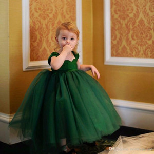 Cute Dark Green Kid Pageant Dresses For Little Girls Ball Flower Girl Dresses Mother And Daughter Dresses