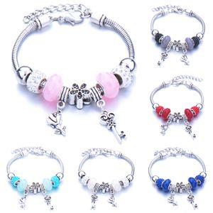 Crystal cut large hole bead key key bracelet glass bead-encrusted drill owl hand ornament diy ms. hand string.
