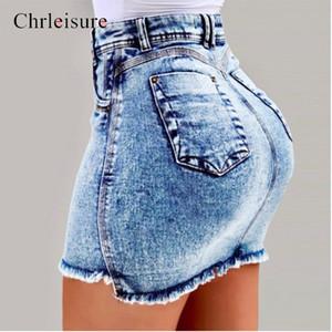 Chrleisure Sommer Hohe Taille Denim Röcke Frauen 2019 Neue Bodycon Jeans Rock Damen Tasche Kurze Röcke 4Farbe C1021