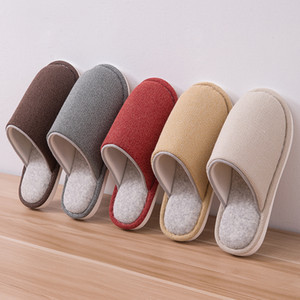 Winter Slippers Comfortable Warm Fashion Shoes Female Non-Slip Soft Sole Solid Indoor Bedroom Home Couple Women Men Slippers 201103