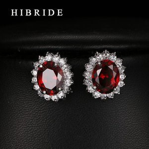 Kırmızı Rhinestone Küpe Moda Takı 2021 Kadınlar Saplama Küpe Düğün Hediyeleri Hibride E-235 Için