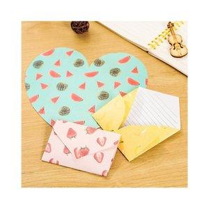 Großhandel-4 teile / paket kreative fruit muster herzen geformt formular papier umschlag bild pad geschenk stationery sc jlleyd warmslove