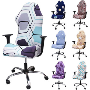 1set Elastic Gaming Chair Cover Split Spandex Office Chair Cover Printed Armchair Slipcover for Computer Household Slipcovers