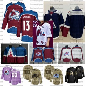 2021 리버스 레트로 사용자 정의 # 13 Valeri Nichushkin 콜로라도 Avalanche 하키 유니폼 골든 에디션 카모 재향 군인의 날 싸움 암 셔츠