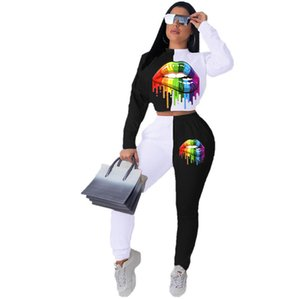 Women Tracksuit Plus Size Lips Printed Long Sleeves Sweatshirt Pullover Leggings Tights Pants Two Piece Outfit Sports Suit 3 Colors E101503