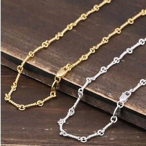 BOCAI S925 pure silver necklace beautiful Thai silver necklace personality contracted section rope chain