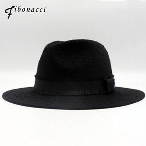 Fibonacci Marca Calidad Classic Black Break Wool Fedoras Jazz Señoras Sombreros Para Mujeres Hombres 100% Lana Fieltro Hat1