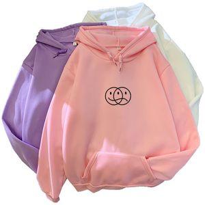 Korean Streetwear Sweatshirt Men Women Casual Pullover Hip Hop Long Sleeve Smile Sad Face Line Print Sport swear Tops Hoodies 201007