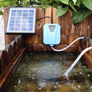 Solar Powered / Mini Bomba de aire de acuario eléctrico Oxigenador para estanques Agua de Oxígeno Bomba Aireador de estanque con 1 piedra de aire 2L / MIN DC 5V Y200922