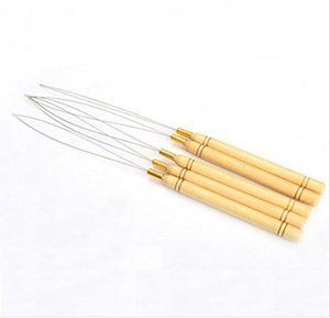 Pulling Needle Loop Threader Wooden Handle needles for micro bead human hair hair extensions tools in stock ps2133