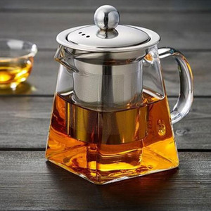 Clear Borosilicate Glass Teapot With Stainless Steel Infuser Strainer Heat Resistant Loose Leaf Tea Pot 90 N2