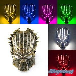 venta caliente de Halloween la mascarilla de 6 colores depredador Mascarillas llevado tema de la película máscara 5V apoyos cosplay de diseño luminosos ZZC2520
