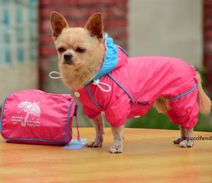 Small Pet Dog Hoody Jacket Rain Coat Waterproof Clothes Slicker Jumpsuit Apparel dog clothes for small dogs raincoats girl boy T200328