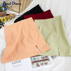 Pearl Diary Women A Line Skirt Spring Summer Solid Color High Waist Side Slit Sweet Skirt Korean Style Office Lady Elegant