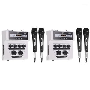 Bluetooth o DJ Mixer Home Mixer Outdoor Microphone Small with 2 Microphone White1