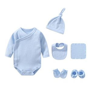 2021 Unisexe coton bébé fille vêtements 6pcs pyjamas ensembles de corps solides bodysuits nouveau-né bébé garçon vêtements ensembles pleines de manches ropa