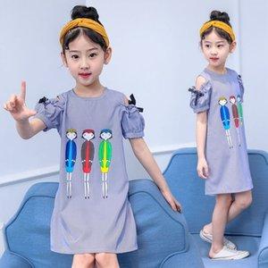 SGDkV Aşınma kız askısız lu Jian Çun Prenses skirtChildren 2020 Yaz yeni peri cartoonshoulder elbise Batı tarzı prenses dr çizgili