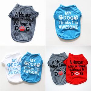 الكلب باو طباعة قصيرة الأكمام الملابس الحيوانات الأليفة الأزياء لينة الصيف الربيع الحيوانات الأليفة underwist متعدد الألوان جودة عالية 4 5YEB P2