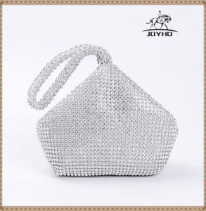 Neuer Ankunfts-weiche Frauen-Abend-Beutel-Diamant-Strass Kupplungen Silber Schwarz Gold Kristall Hochzeit Handtaschen-Geldbeutel C1009