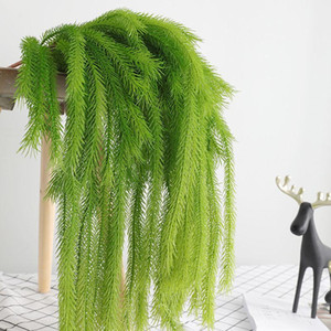 1pc 80cm Artificial Vine Greenery Garland Fake Vines Pine Tree Green Leaves In Snow For Christmas Wall Hanging Artificial Plants