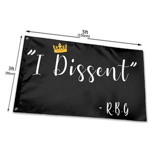 I Dissent RBG Ruth Bader Ginsburg Flags 3x5ft 150x90cm Printing Polyester Club Team Sports Indoor With 2 Brass Grommets,Free Shipping