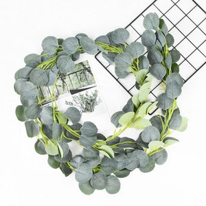 Dense Leaf Artificial Eucalyptus Garland Faux Silk Eucalyptus Leaves Vines Handmade Garland Greenery Wedding Backdrop Arch Wall