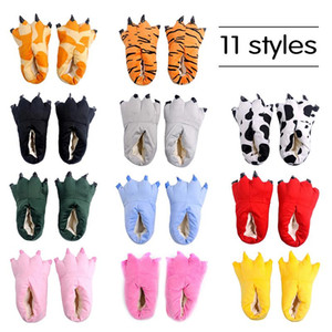 Funny Animal Foot Slippers Winter Soft Warm Parent-child Home House Slipper Indoor Floor Plush Christmas House Shoes